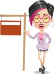 Hipster Girl Cartoon Vector Character AKA Milly - Street Sign