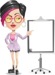 Hipster Girl Cartoon Vector Character AKA Milly - Presentation 2