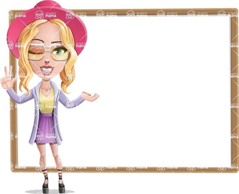 Stylish Girl Cartoon Vector Character AKA Fifi - Presentation 4