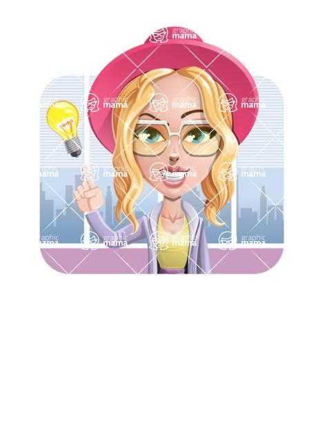 Stylish Girl Cartoon Vector Character AKA Fifi - Shape 2