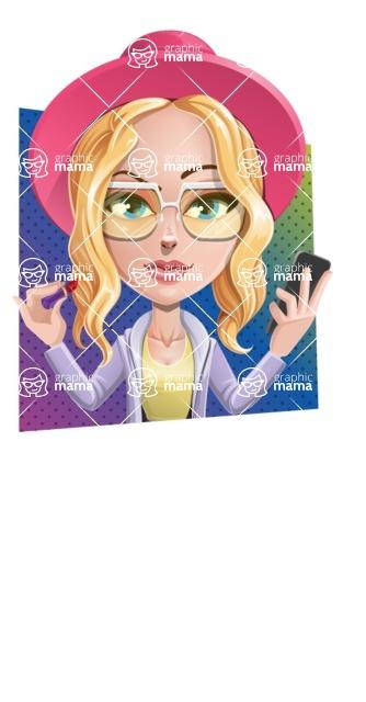 Stylish Girl Cartoon Vector Character AKA Fifi - Shape 3