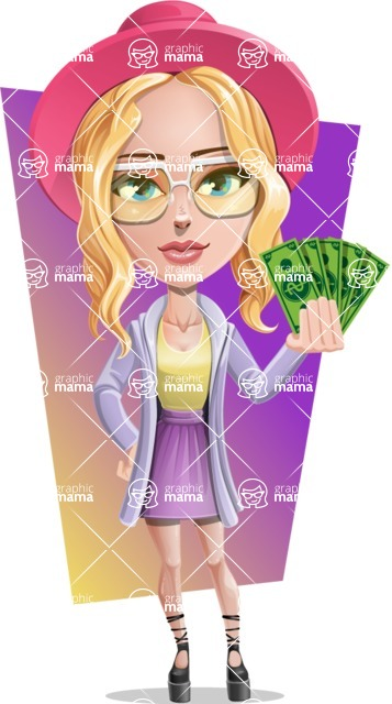 Stylish Girl Cartoon Vector Character AKA Fifi - Shape 5