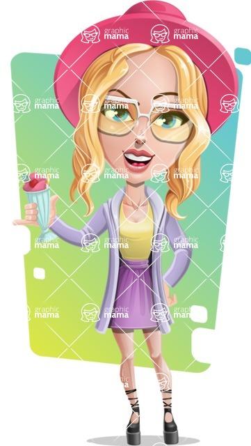 Stylish Girl Cartoon Vector Character AKA Fifi - Shape 8