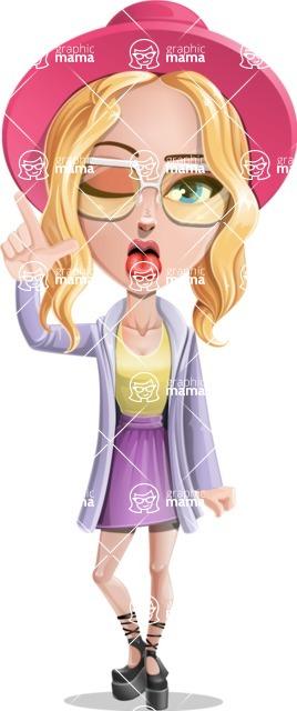 Stylish Girl Cartoon Vector Character AKA Fifi - Making Face