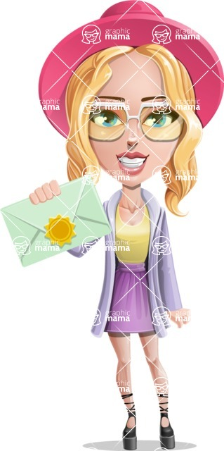Stylish Girl Cartoon Vector Character AKA Fifi - Letter