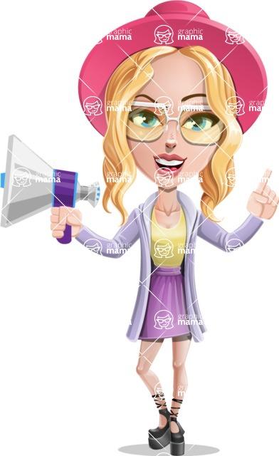 Stylish Girl Cartoon Vector Character AKA Fifi - Loudspeaker