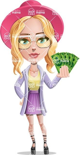 Stylish Girl Cartoon Vector Character AKA Fifi - Show me the money