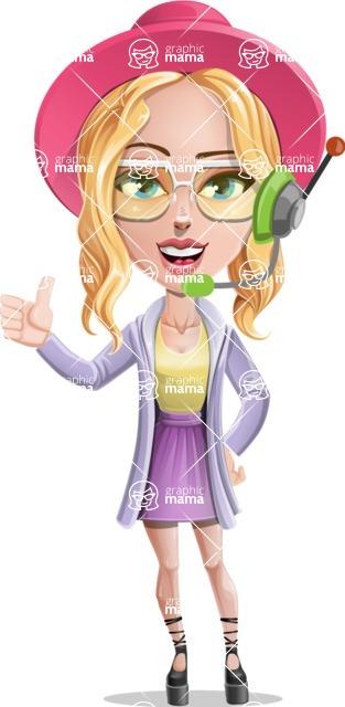 Stylish Girl Cartoon Vector Character AKA Fifi - Support 1