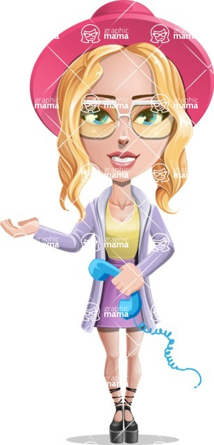 Stylish Girl Cartoon Vector Character AKA Fifi - Support 2