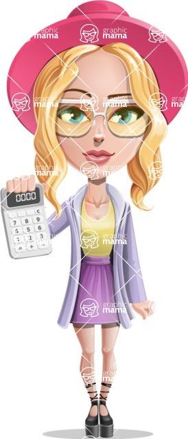 Stylish Girl Cartoon Vector Character AKA Fifi - Calculator