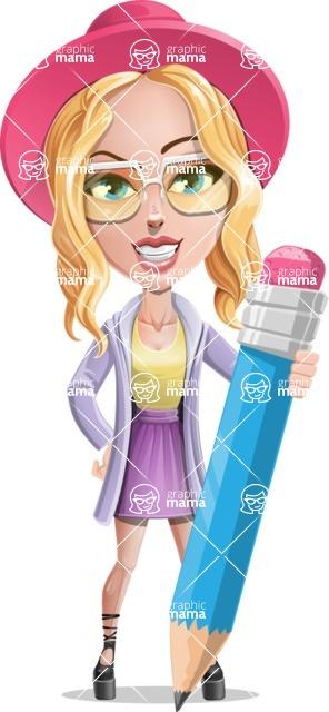 Stylish Girl Cartoon Vector Character AKA Fifi - Pencil