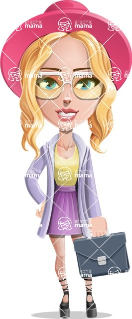 Stylish Girl Cartoon Vector Character AKA Fifi - Briefcase 2