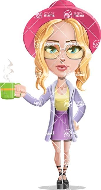 Stylish Girl Cartoon Vector Character AKA Fifi - Coffee