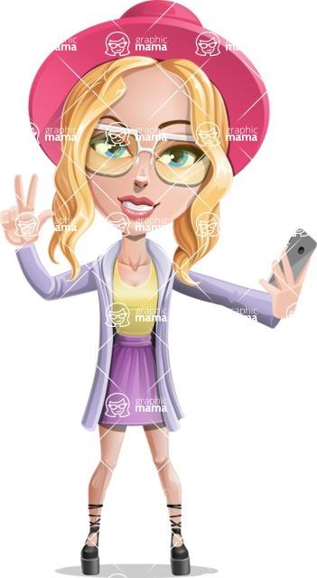Stylish Girl Cartoon Vector Character AKA Fifi - Selfie 2