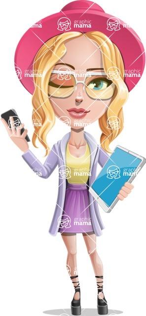 Stylish Girl Cartoon Vector Character AKA Fifi - Phone and tablet