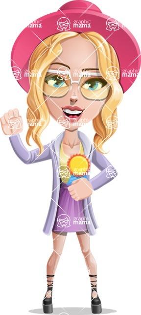 Stylish Girl Cartoon Vector Character AKA Fifi - Ribbon
