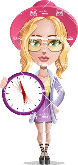 Stylish Girl Cartoon Vector Character AKA Fifi - Time