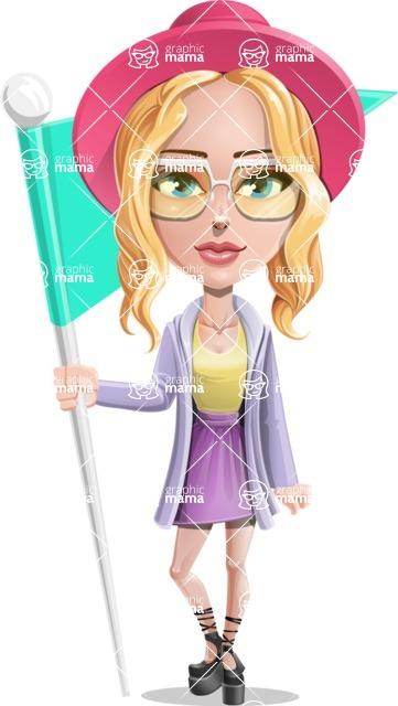Stylish Girl Cartoon Vector Character AKA Fifi - Checkpoint