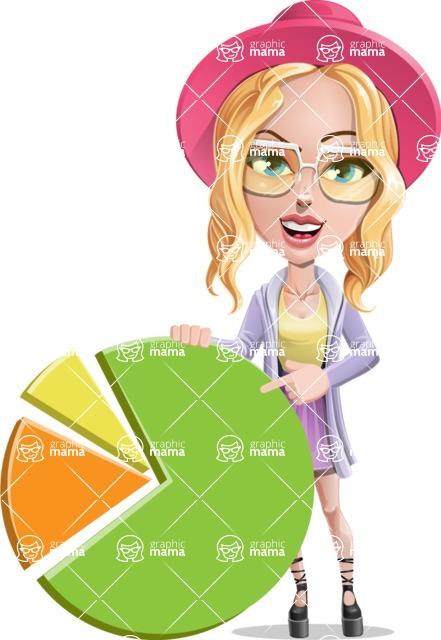 Stylish Girl Cartoon Vector Character AKA Fifi - Chart