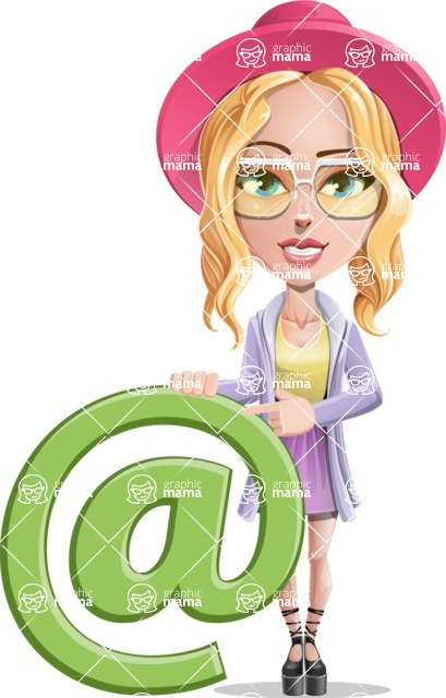 Stylish Girl Cartoon Vector Character AKA Fifi - E-mail