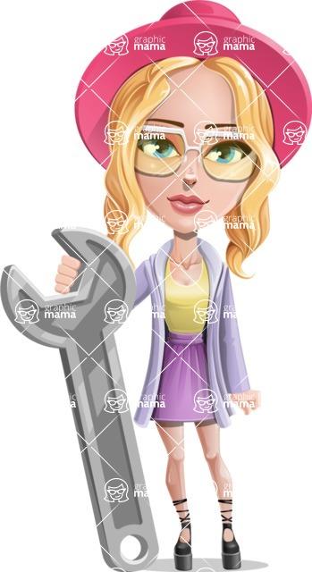 Stylish Girl Cartoon Vector Character AKA Fifi - Repair