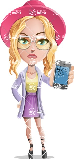Stylish Girl Cartoon Vector Character AKA Fifi - Broken