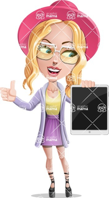 Stylish Girl Cartoon Vector Character AKA Fifi - Tablet 2