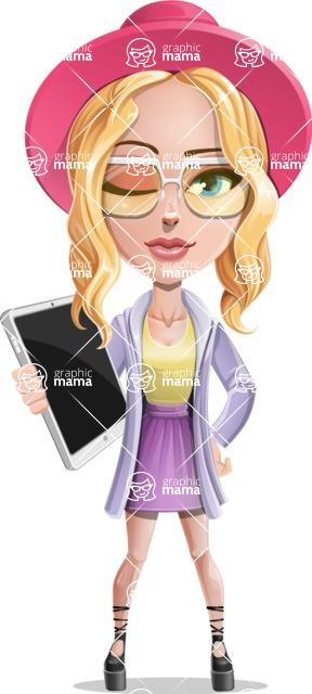 Stylish Girl Cartoon Vector Character AKA Fifi - Tablet 3