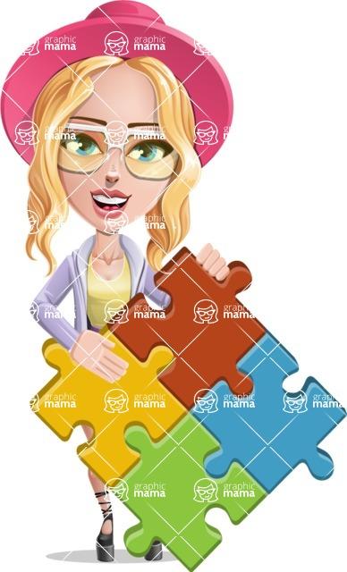 Stylish Girl Cartoon Vector Character AKA Fifi - Puzzle