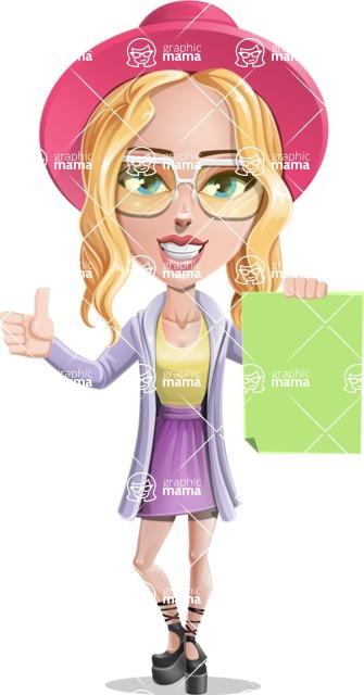 Stylish Girl Cartoon Vector Character AKA Fifi - Sign 2