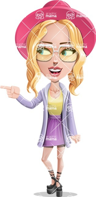 Stylish Girl Cartoon Vector Character AKA Fifi - Point 1