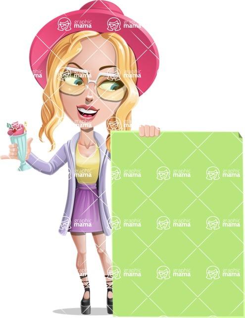 Stylish Girl Cartoon Vector Character AKA Fifi - Sign 6