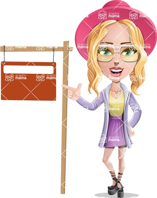Stylish Girl Cartoon Vector Character AKA Fifi - Street Sign