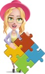 Stylish Girl Cartoon Vector Character AKA Fifi - Puzzle