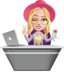 Stylish Girl Cartoon Vector Character AKA Fifi - Desk