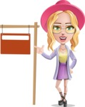Stylish Girl Cartoon Vector Character AKA Fifi - Street Sign