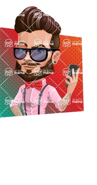 Man with Bow Tie Cartoon Vector Character - Shape 3