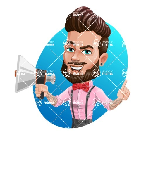 Man with Bow Tie Cartoon Vector Character - Shape 4
