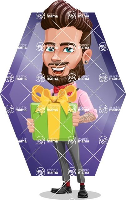 Man with Bow Tie Cartoon Vector Character - Shape 7