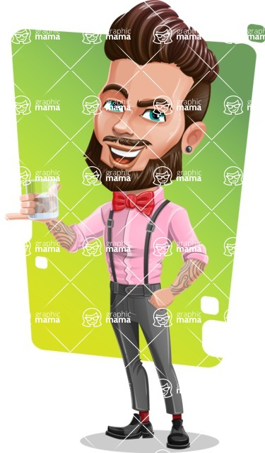 Man with Bow Tie Cartoon Vector Character - Shape 8
