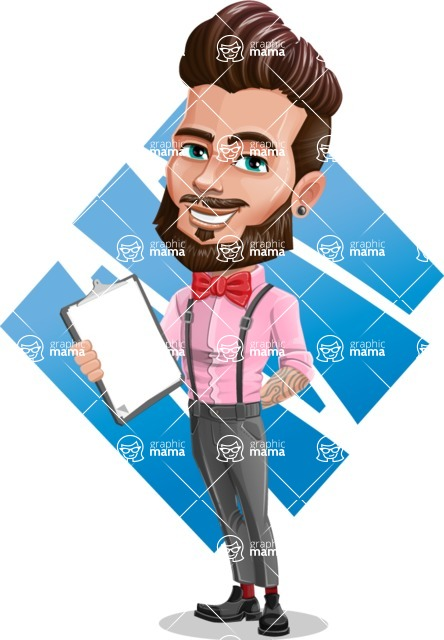 Man with Bow Tie Cartoon Vector Character - Shape 11