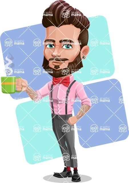Man with Bow Tie Cartoon Vector Character - Shape 12