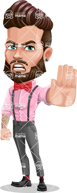 Man with Bow Tie Cartoon Vector Character - Stop 2