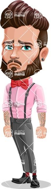 Man with Bow Tie Cartoon Vector Character - Sad