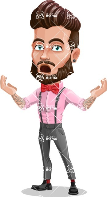 Man with Bow Tie Cartoon Vector Character - Shocked