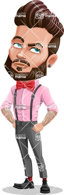 Man with Bow Tie Cartoon Vector Character - Roll Eyes