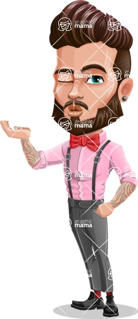 Man with Bow Tie Cartoon Vector Character - Duckface