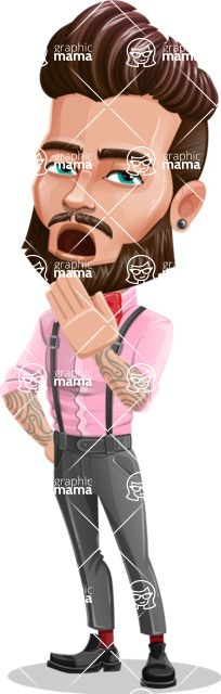 Man with Bow Tie Cartoon Vector Character - Bored 1