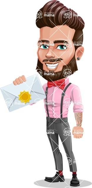 Man with Bow Tie Cartoon Vector Character - Letter