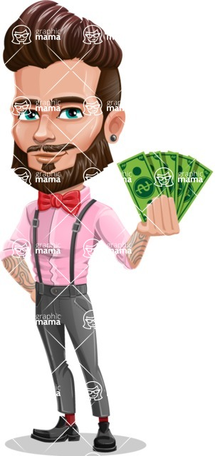 Man with Bow Tie Cartoon Vector Character - Show me the money